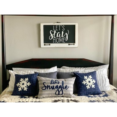 Let's Snuggle and Snowflake Pillows