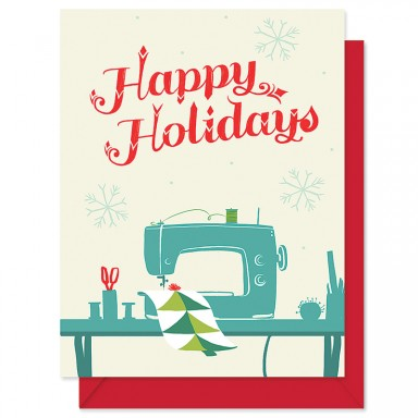 Happy Holidays Sewing Card