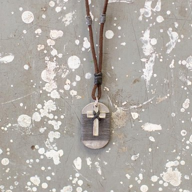 Cross and Wrapped Tag Necklace