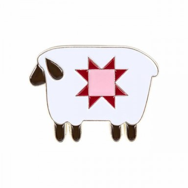 Prim Sheep Enamel Needle Minder