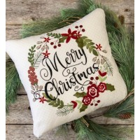 Merry Christmas Wreath Pillow